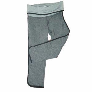 Grey Yoga Capri with Fold-over Waist